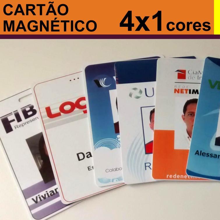 Crachás de PVC 0,76mm Personalizado com Tarja Magnética Alta 4x1 cores
