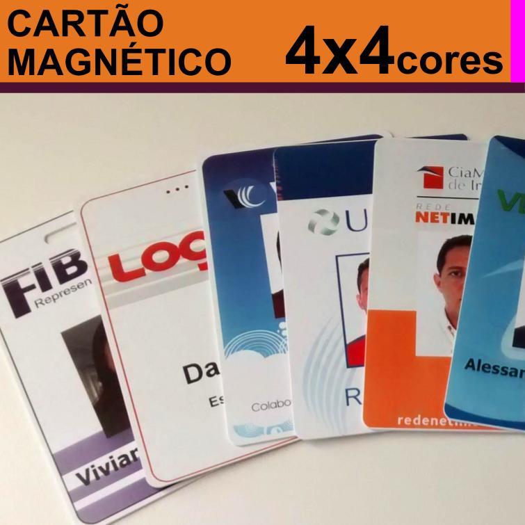 Crachás de PVC 0,76mm Personalizado com Tarja Magnética Alta 4x4 Cores