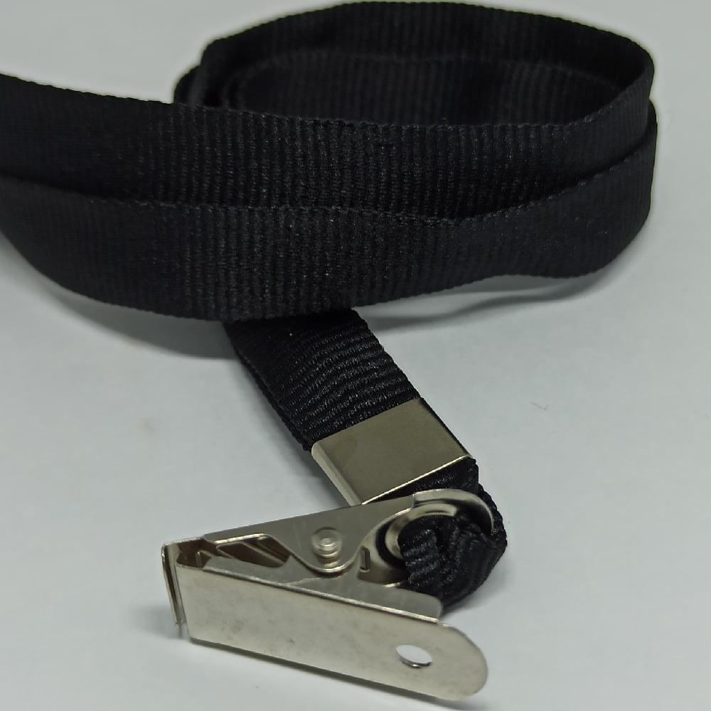 Cordão Liso 12mm para crachá c/ presilha clips jacaré preto