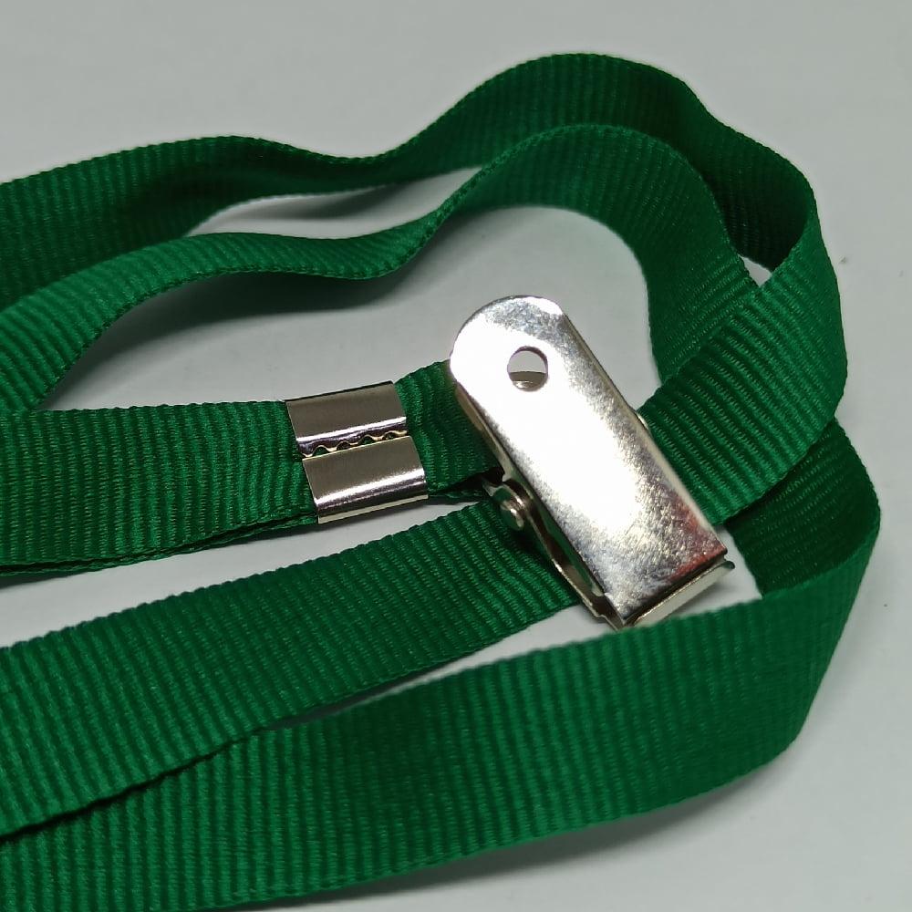 Cordão Liso 12mm para crachá c/ presilha clips jacaré verde