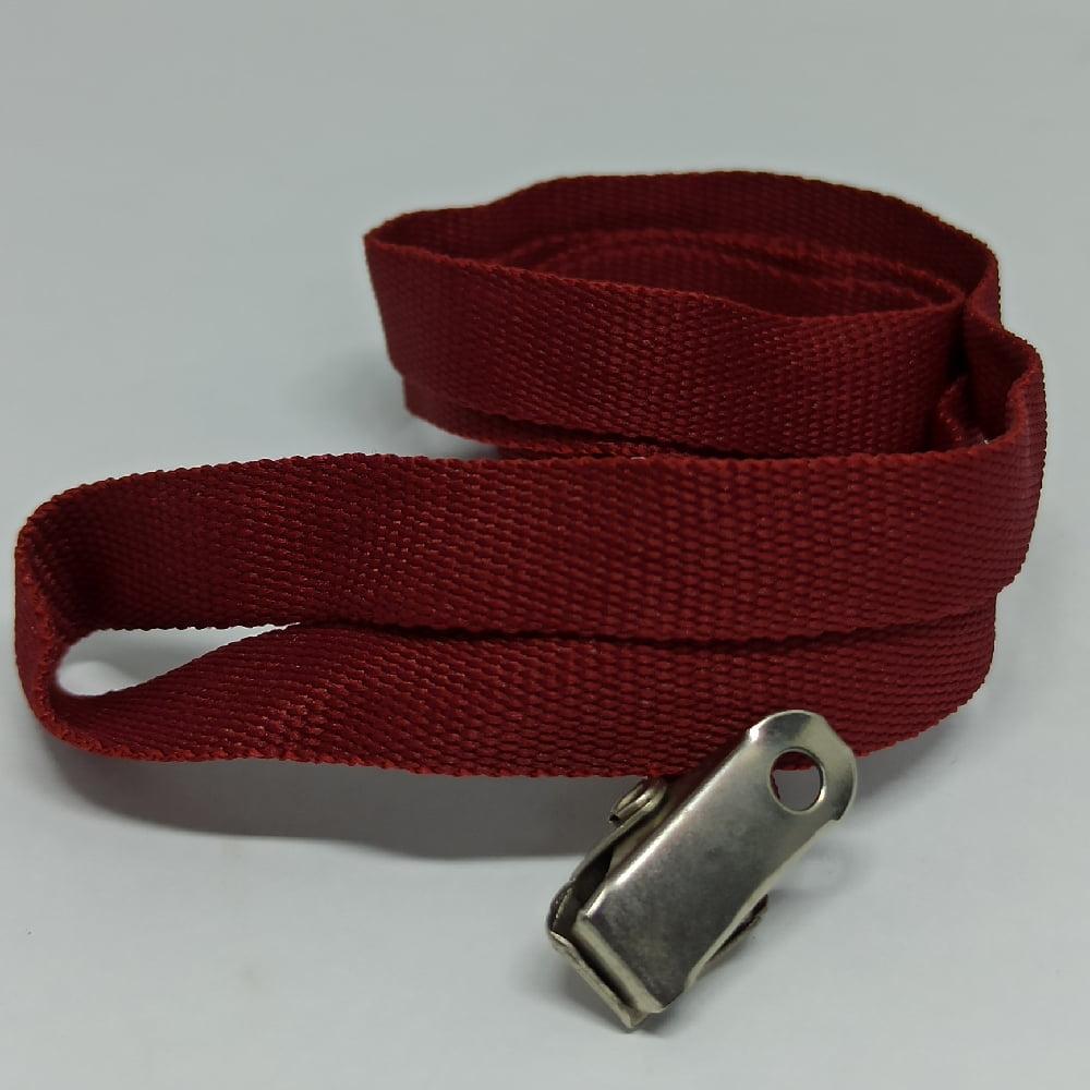 Cordão Liso 12mm para crachá c/ presilha clips jacaré vinho Bordô