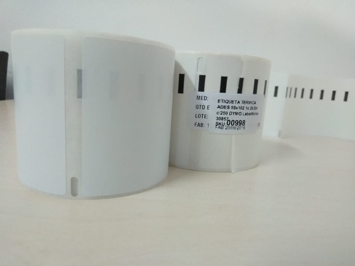 Etiqueta Térmica Ades. 59x102mm 1 c 26m c/ 250 DYMO LabelWriter 30326