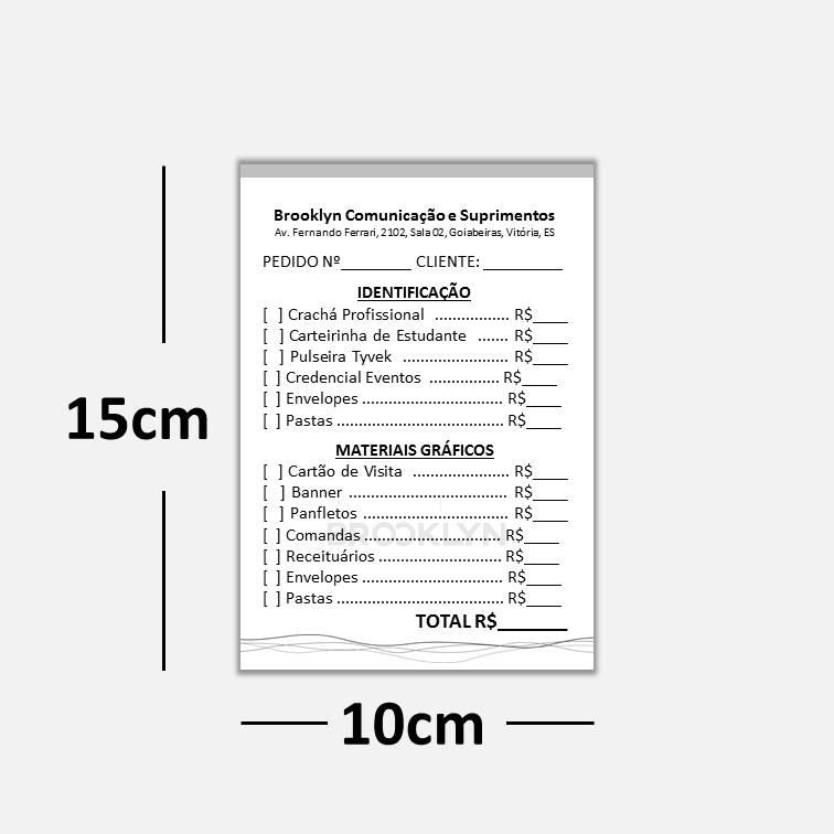 Blocos ou Comandas Sulfite 75g Preto Branco 10x15cm 1x0 cores c/ 25 blocos de 100 folhas