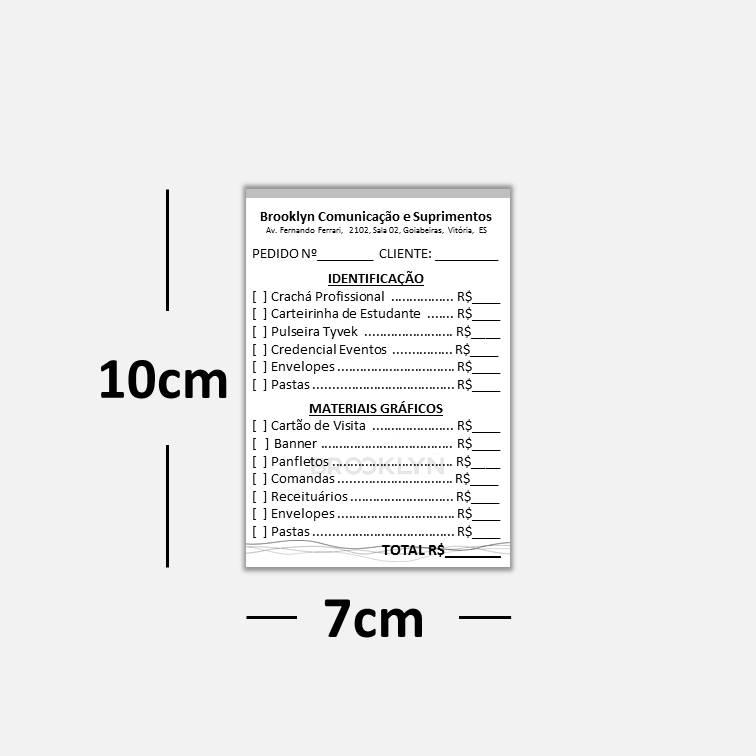 Blocos ou Comandas Sulfite 75g Preto Branco 7x10cm 1x0 cores c/ 50 blocos de 100 folhas
