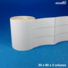 Etiqueta Adesiva Couchê 80x30mm x 1 coluna