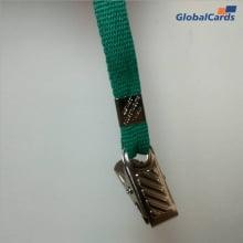 Cordão Liso 09mm para Crachá com Presilha Clips Jacaré - Verde