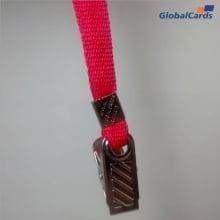 Cordão Liso 09mm para crachá c/ presilha clips jacaré vermelho