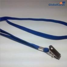 Cordão Liso 15mm para crachá c/ presilha clips jacaré azul royal