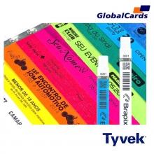 Pulseiras Identificação Eventos e Festas Tyvek Prata/ Cinza personalizadas em preto (min   10)