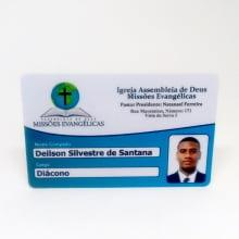 Cartão Membro Igreja PVC 0,76mm 4x1 Cores Frente Colorida com verso escrito em Preto - Ped Mínimo 50