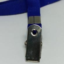 Cordão Liso 12mm para crachá c/ presilha clips jacaré azul royal