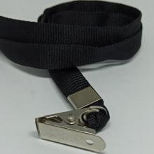 Cordão Liso 12mm para Crachá com Presilha Clips Jacaré - Preto