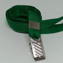 Cordão Liso 12mm para Crachá com Presilha Clips Jacaré - Verde