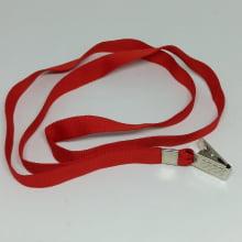Cordão Liso 12mm para crachá c/ presilha clips jacaré vermelho