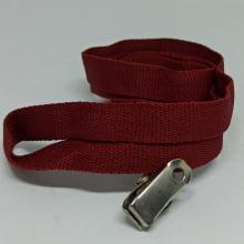 Cordão Liso 12mm para Crachá com Presilha Clips Jacaré - Vinho Bordô
