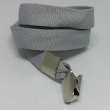 Cordão Liso 15mm para Crachá com Presilha Clips Jacaré - Cinza