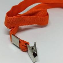 Cordão Liso 15mm para crachá c/ presilha clips jacaré laranja