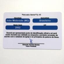 Cartão de Membro Igreja de PVC 0,76mm 4x4 Cores Dados Variáveis