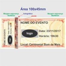 Ingresso para Show, Festas e Eventos em Papel Holográfico 105x50mm - 1X0 cores (min   12)