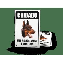 Placas de Sinalização - Advertência Cão-Bravo - H501 - A - 28,9x21,4mm 4x0 cor em PVC 0,5mm - Globalcards Gráfica e Suprimentos